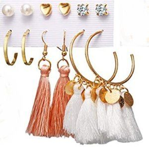 Tassel/Ball/Hoop/Stud Layered Earrings Set